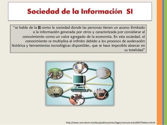 """""""se habla de la SI como la sociedad donde las personas tienen un acceso ilimitado a la información generada por otros y ca..."""