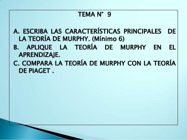 TEMA N° 9A. ESCRIBA LAS CARACTERÍSTICAS PRINCIPALES DE  LA TEORÍA DE MURPHY. (Mínimo 6)B. APLIQUE LA TEORÍA DE MURPHY EN E...