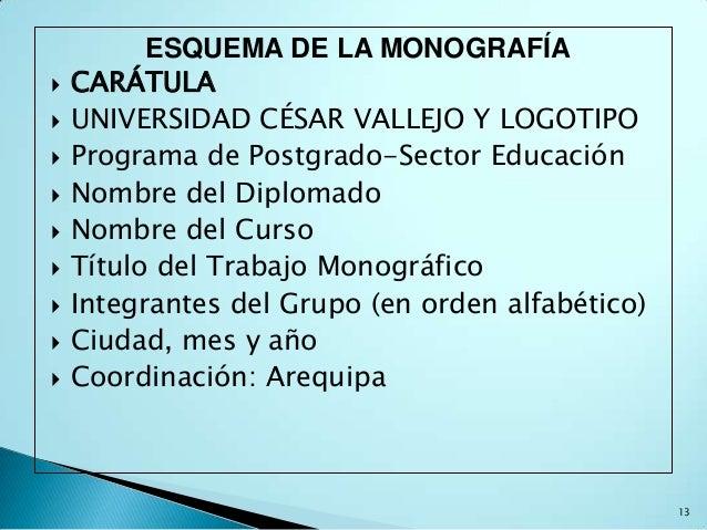 ESQUEMA DE LA MONOGRAFÍA   CARÁTULA   UNIVERSIDAD CÉSAR VALLEJO Y LOGOTIPO   Programa de Postgrado-Sector Educación   ...