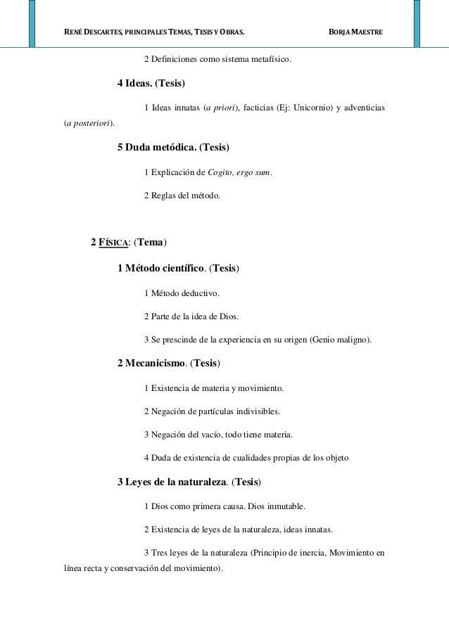Tema, tesis y obras Descartes
