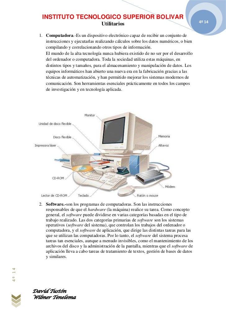 INSTITUTO TECNOLOGICO SUPERIOR BOLIVAR                                            Utilitarios                             ...