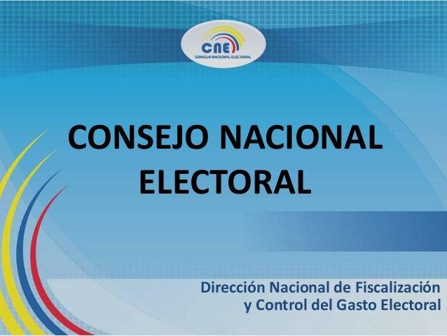 CONSEJO NACIONAL ELECTORAL Dirección Nacional de Fiscalización y Control del Gasto Electoral