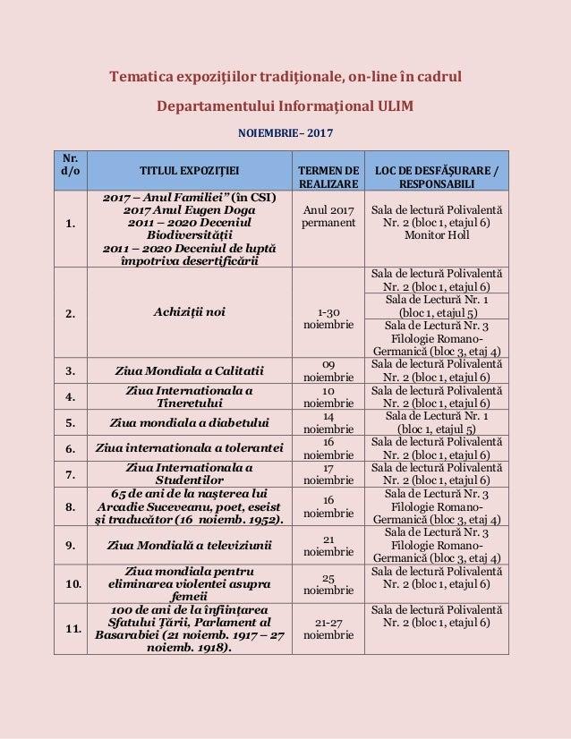 Tematica expoziţiilor tradiţionale, on-line în cadrul Departamentului Informaţional ULIM NOIEMBRIE– 2017 Nr. d/o TITLUL EX...