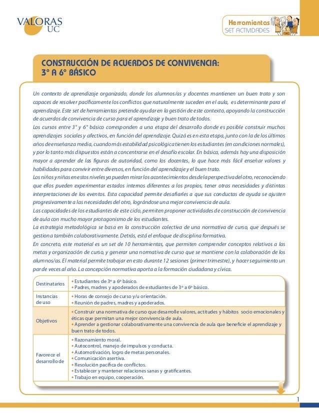 Herramientas SET ACTIVIDADES  CONSTRUCCIÓN DE ACUERDOS DE CONVIVENCIA: 3º A 6º BÁSICO Un contexto de aprendizaje organizad...