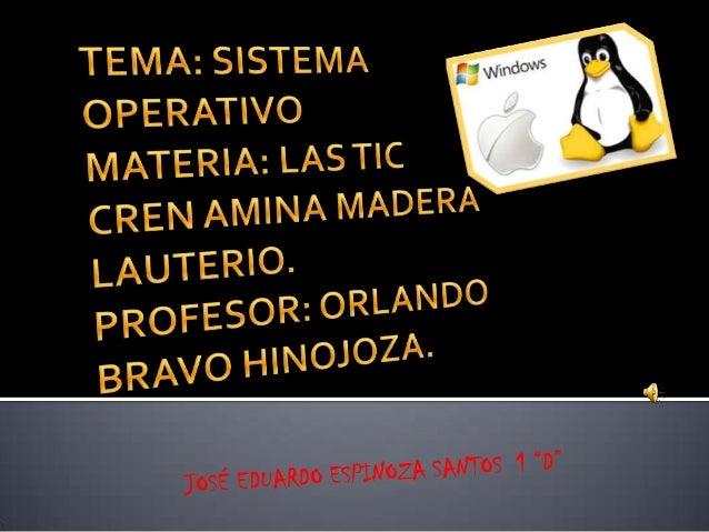   El sistema operativo es el programa (o software) más importante de un ordenador. Para que funcionen los otros programas...