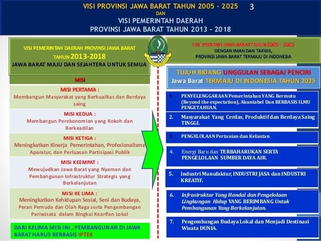 VISI PROVINSI JAWA BARAT TAHUN 2005 – 2025 DENGAN IMAN DAN TAKWA, PROVINSI JAWA BARAT TERMAJU DI INDONESIA TUJUH BIDANG UN...