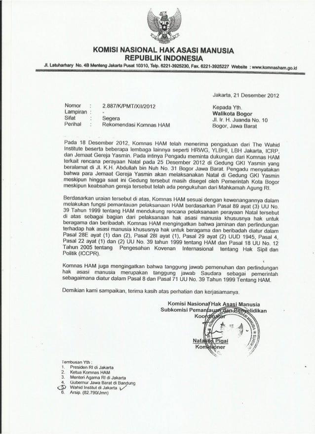 Tembusan Surat Komnas Ham 21 Desember 2012 Kepada Walikota Bogor