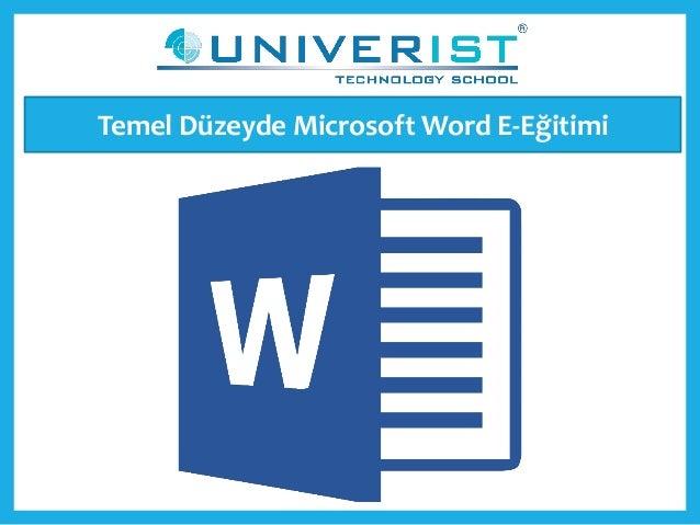 Temel Düzeyde Microsoft Word E-Eğitimi