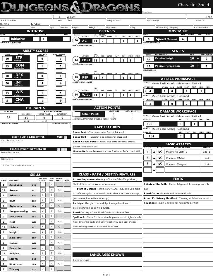 Character Sheet                                                                                                           ...