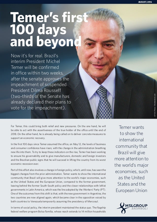 Temer's First 100 Days and Beyond