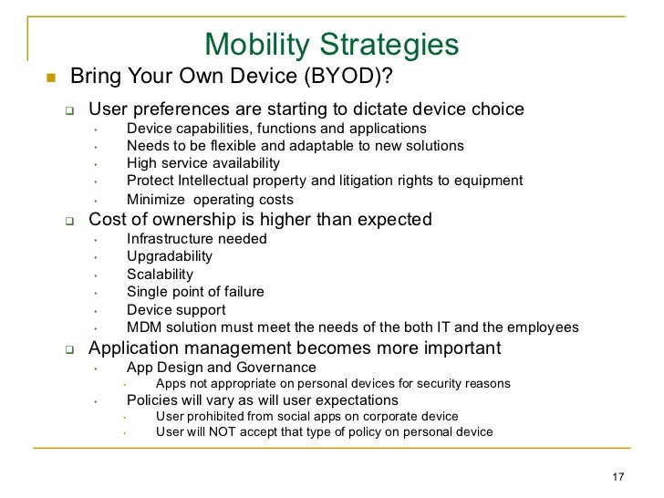 policy awareness and training 16 17 mobility strategiesn bring your own device