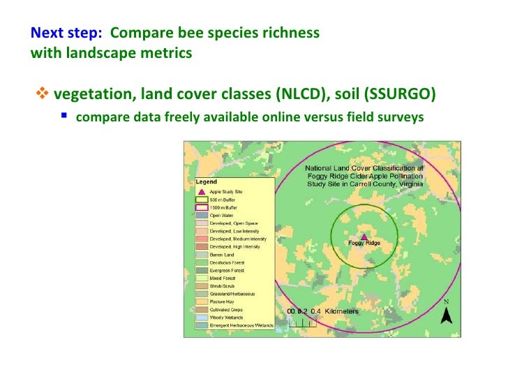 Next step: Compare bee species richnesswith landscape metrics vegetation, land cover classes (NLCD), soil (SSURGO)    co...