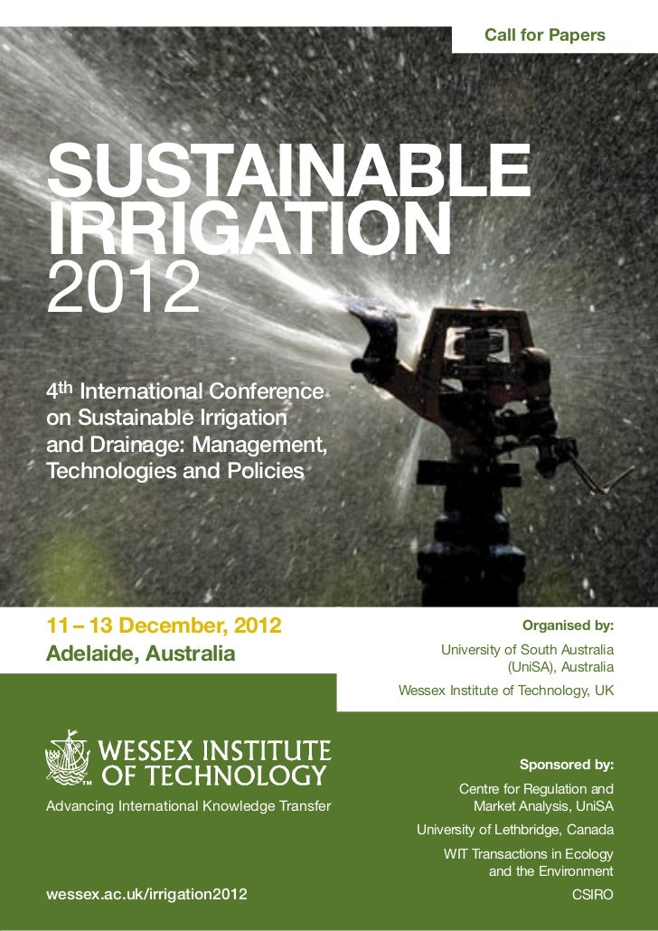 Call for PapersSUSTAINABLEIRRIGATION20124th International Conferenceon Sustainable Irrigationand Drainage: Management,Tech...