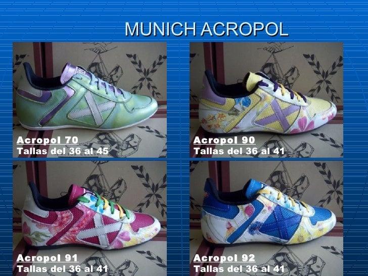 MUNICH ACROPOL Acropol 70 Tallasdel 36 al 45  Acropol 90 Tallasdel 36 al 41 Acropol 91 Tallasdel 36 al 41  Acropol 92 T...