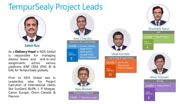 TempurSealy Project Leads Satish Rao Vijay Boolani Shashank Kerur Afsar Hussain As a Delivery Head in NDS Global is respon...
