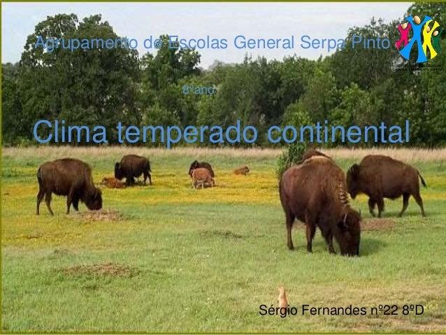 Agrupamento de Escolas General Serpa Pinto Sérgio Fernandes nº22 8ºD 8ºano Clima temperado continental