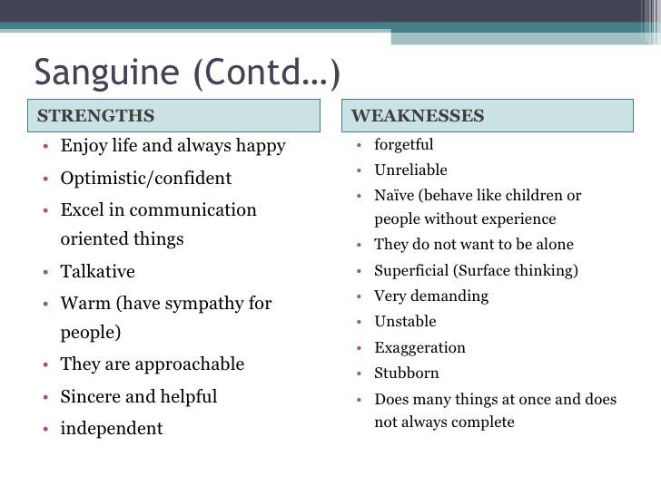 Sanguine temperament weaknesses