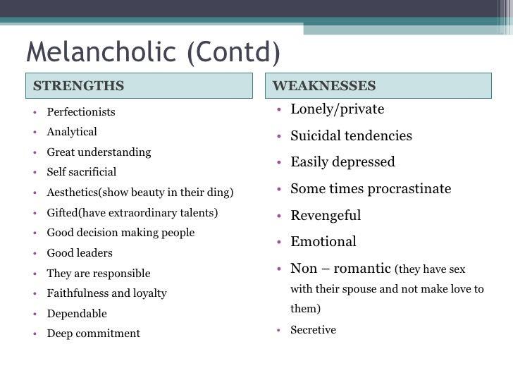 characteristics of a melancholy