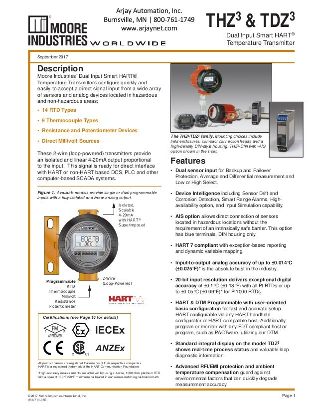 THZ3 & TDZ3 Dual Input Smart HART® Temperature Transmitter *High-accuracy measurements are achieved by using a 4-wire, 100...
