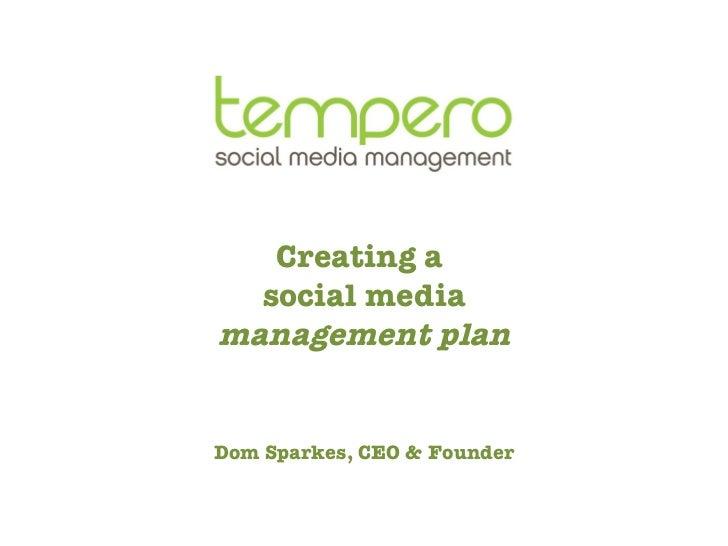 Tempero Creating a Social Media Management Plan