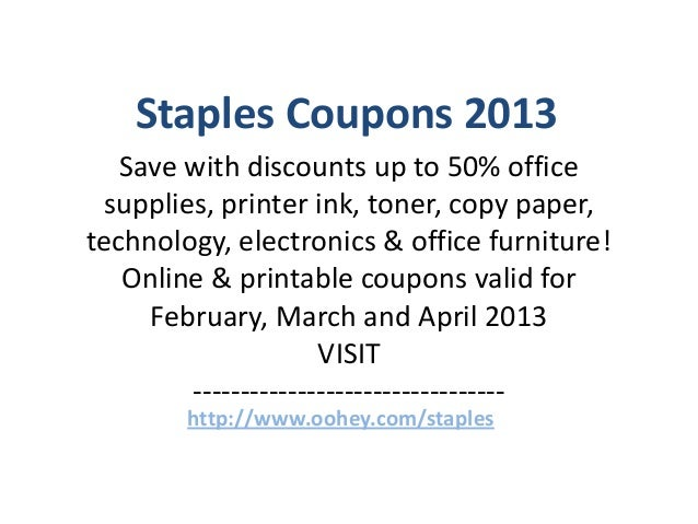 photograph relating to Staples Coupons Printable named Staples Coupon codes Code February 2013 March 2013 April 2013