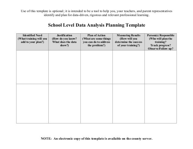 School Data Analysis Template - Plan