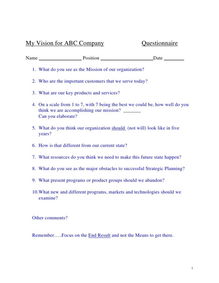 Template 2 Strategic Planning Survey. My Vision For ABC Company  Questionnaire Name