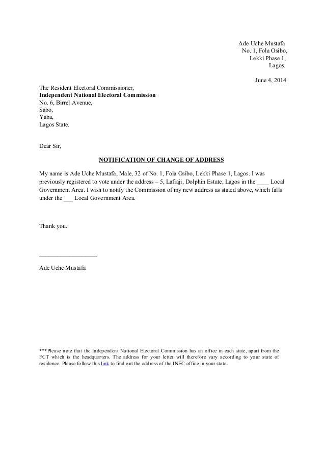 sample change of address letter