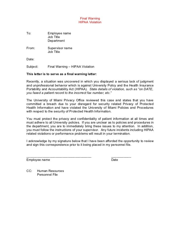 Template disciplinary lettersexamplesgables – Sample Final Notice Letter