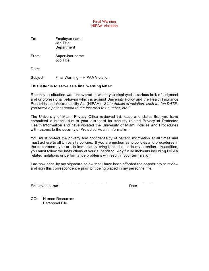 Sincerely,SupervisorTitleDepartmentCC: Human Resources Personnel File; 9.  Final Warning ... Design Ideas