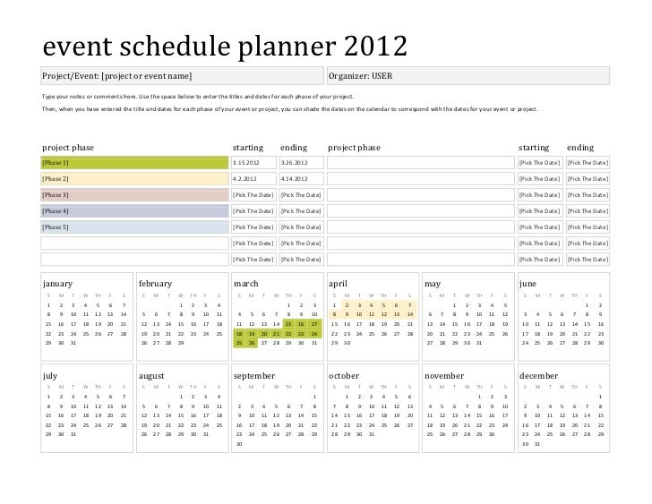 Template event schedule planner 2012 for Wedding planning schedule template