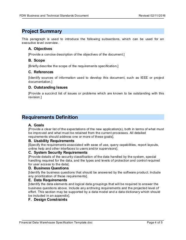Template FDW business requirement document