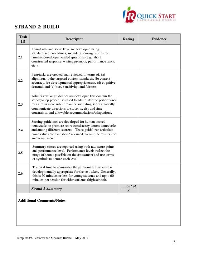 Template #6-Performance Measure Rubric-May 2014-Final