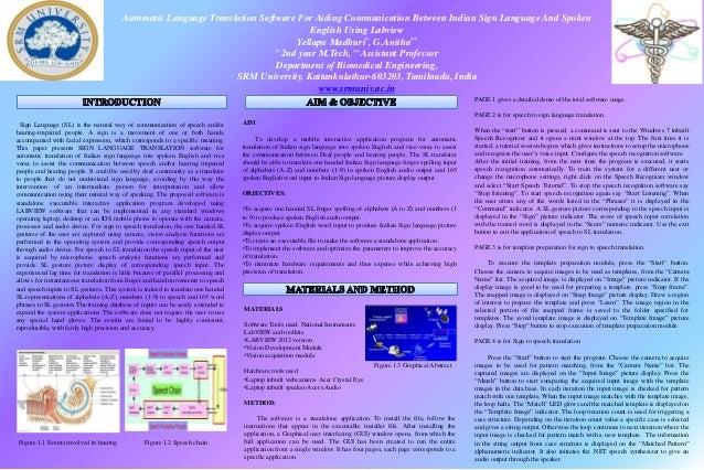 Automatic Language Translation Software For Aiding Communication Between Indian Sign Language And SpokenEnglish Using Labv...