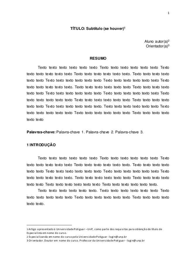 1 TÍTULO: Subtítulo (se houver)1 Aluno autor(a)2 Orientador(a)3 RESUMO Texto texto texto texto texto texto Texto texto tex...