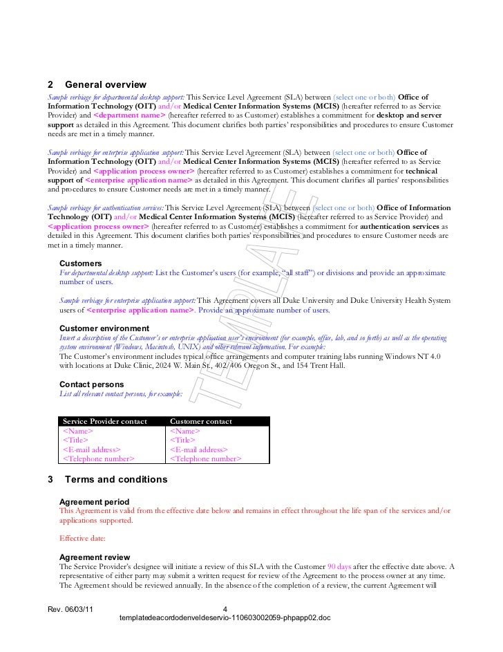 Information Technology Service Level Agreement Template Yelom