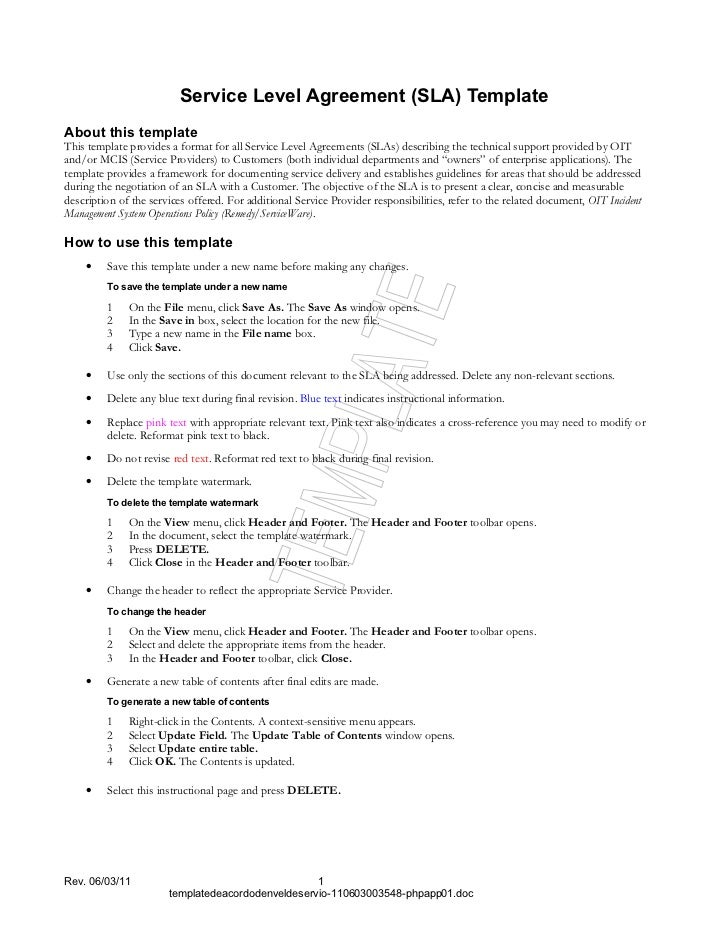 Service Level Agreement (SLA) TemplateAbout this templateThis template provides a format for all Service Level Agreements ...