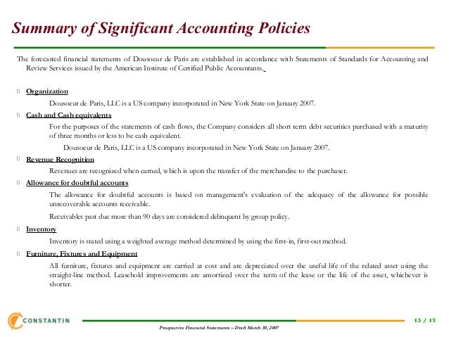 15 summary of significant accounting policies
