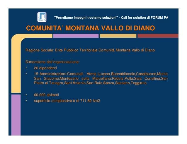 """""""Prendiamo impegni troviamo soluzioni"""" - Call for solution di FORUM PA Ragione Sociale: Ente Pubblico Territoriale Comunit..."""