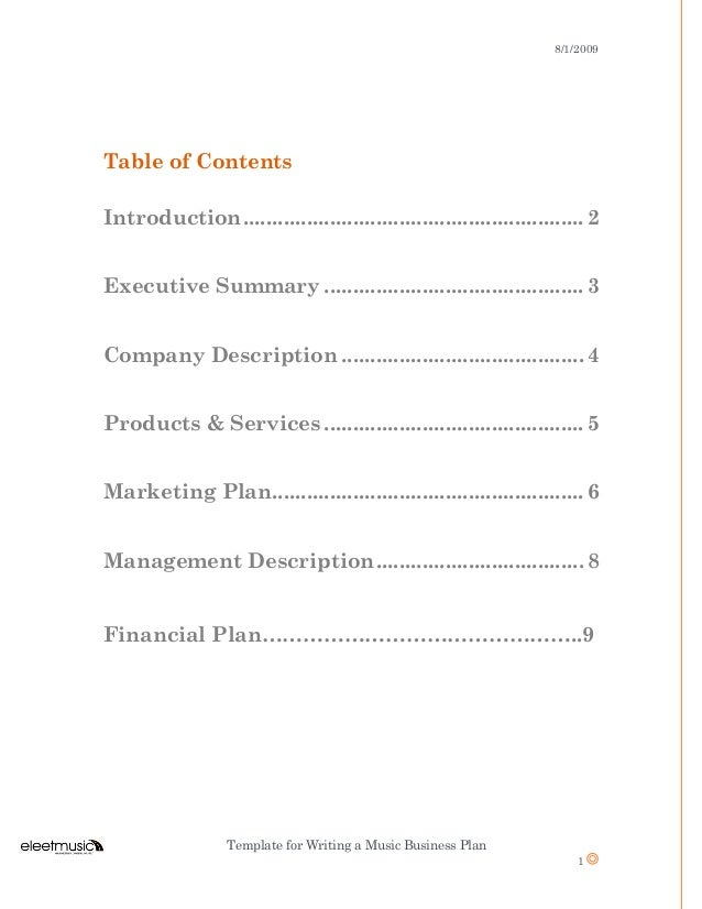 Music business plan 2 812009 template for writing a music business plan flashek Image collections