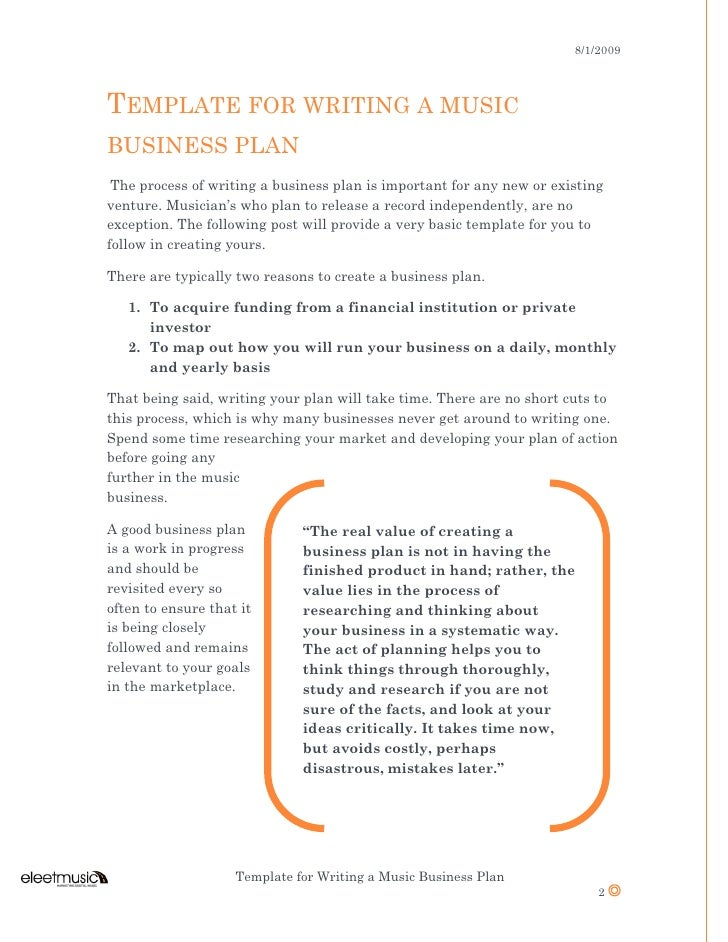 Template for writing a business plan