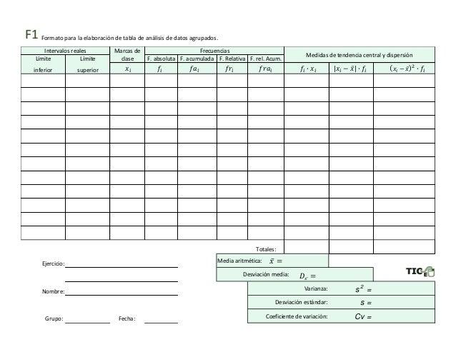 Formato para la elaboraci�n de tabla de an�lisis de datos agrupados. Marcas de L�mite L�mite clase F. absoluta F. acumulad...
