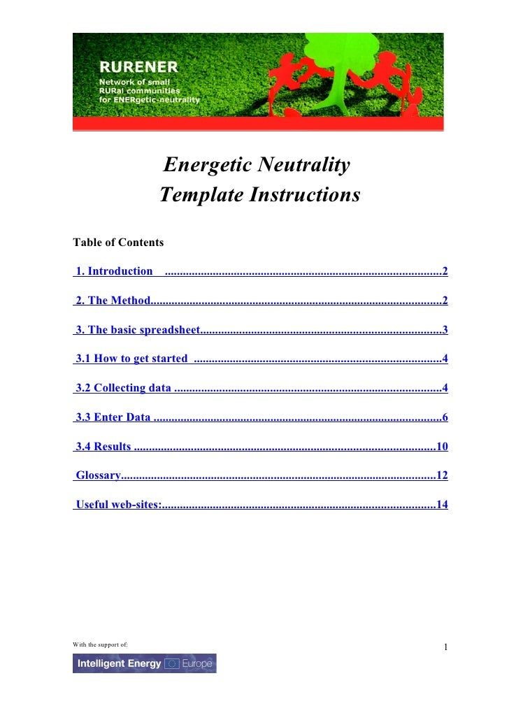 Energetic Neutrality                           Template Instructions Table of Contents   1. Introduction ....................