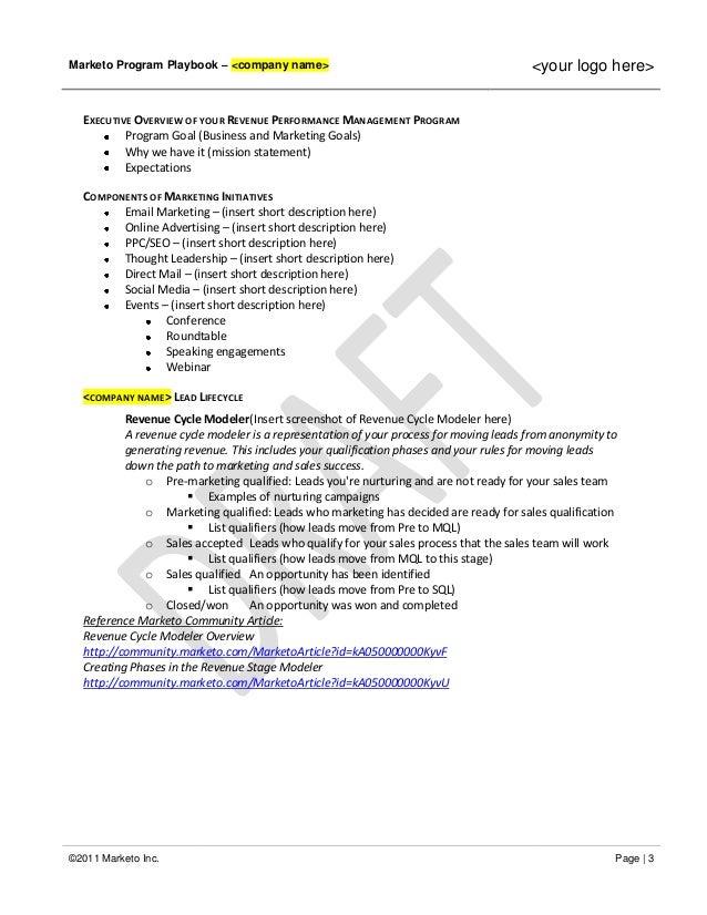 TEMPLATE Marketo Program Playbook