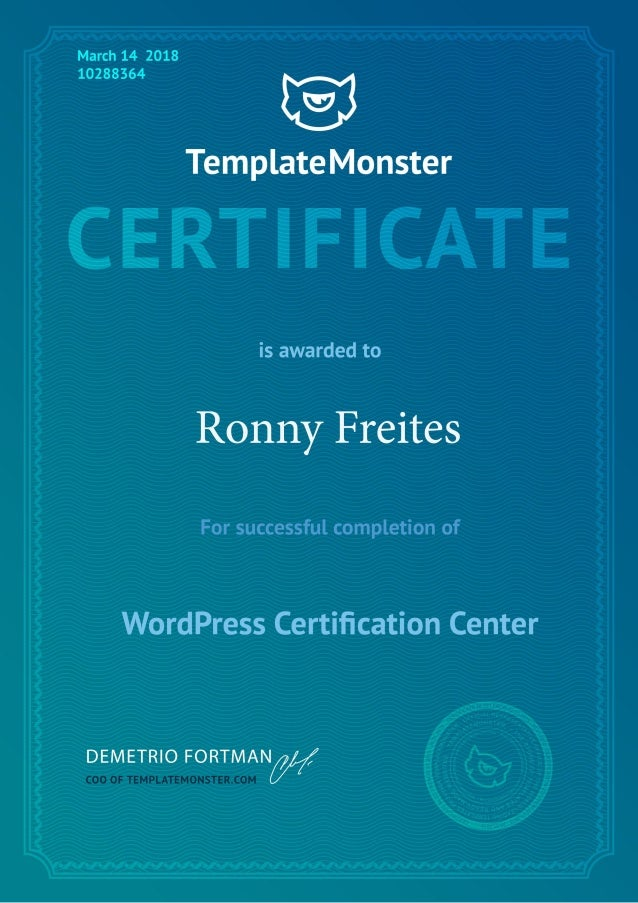 Template monster Wordpress certification