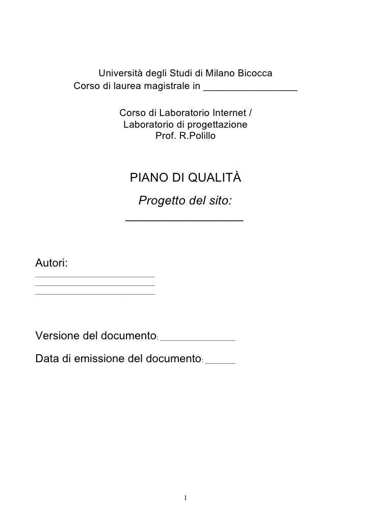 Università degli Studi di Milano Bicocca           Corso di laurea magistrale in _________________                        ...