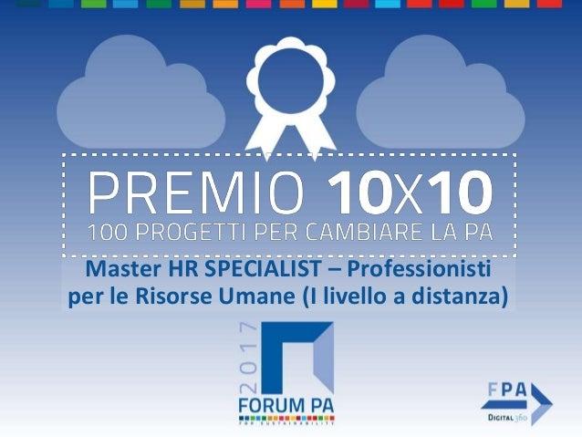 Master HR SPECIALIST – Professionisti per le Risorse Umane (I livello a distanza)