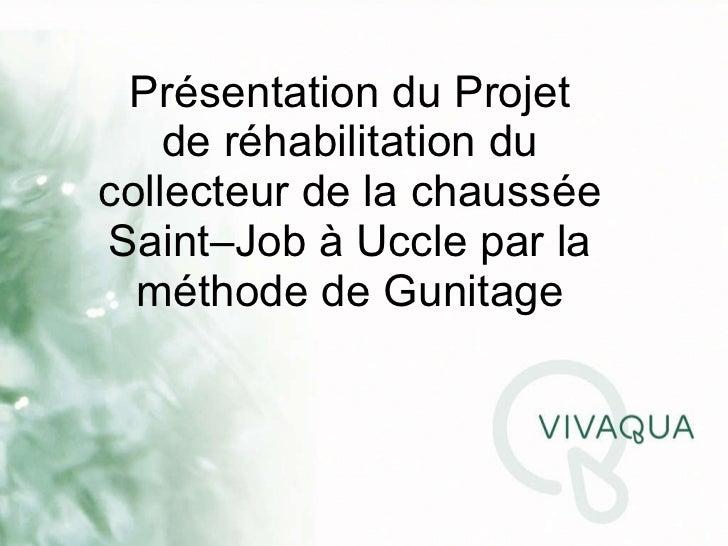 Présentation du Projet de réhabilitation du collecteur de la chaussée Saint–Job à Uccle par la méthode de Gunitage
