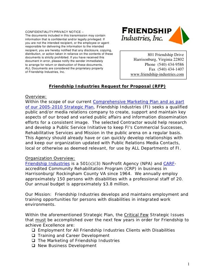 Template Public Relations RFP. CONFIDENTIALITY/PRIVACY NOTICE U2013 The  Documents Included In This Transmission May Contain Information That Is ...