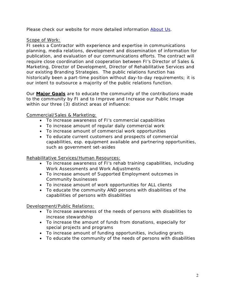 Template public relations rfp for Marketing scope of work template